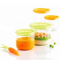 4 p'tits pots de conservation 150 ml + 300 ml vert et orange