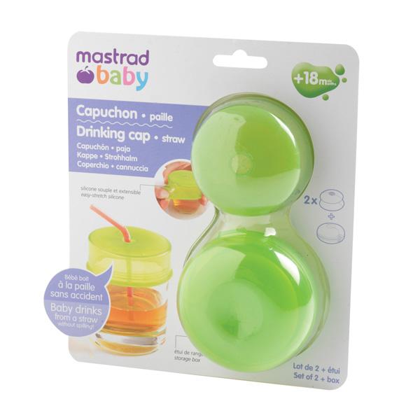 Lot de 2 capuchons paille pour tasse vert Mastrad baby