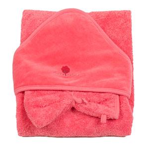 Sortie de bain bébé avec gant corail