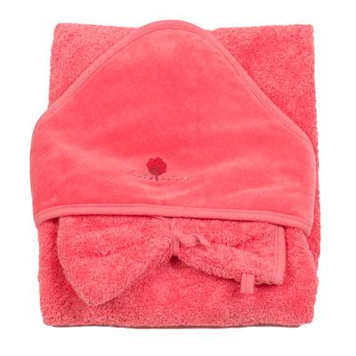 Sortie de bain bébé avec gant corail Eveil et nature