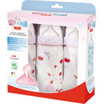 Lot de 3 biberons sans bpa first choice rose 300 ml pas cher