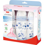 Lot de 3 biberons sans bpa first choice bleu 300 ml pas cher