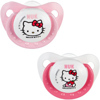 Lot de 2 sucettes silicone taille 2 hello kitty