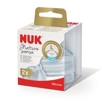 Lot de 2 tétines silicone nature sense taille 2 eau Nuk