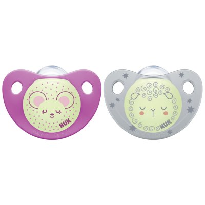 Lot de 2 sucettes silicone trendline night taille 2 fille Nuk