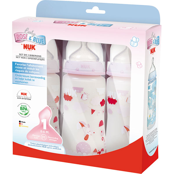 Lot de 3 biberons sans bpa first choice rose 300 ml Nuk