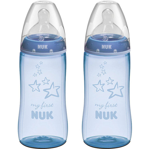 Lot de 2 biberons sans bpa my first blue 300 ml Nuk