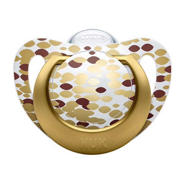 Coffret 1 biberon sans bpa 300ml + 1 sucette genius 0-6 mois gold Nuk