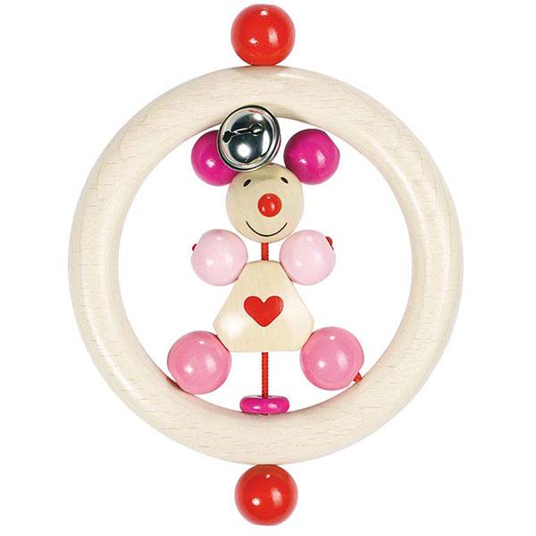 Hochet anneau souris rose Heimess