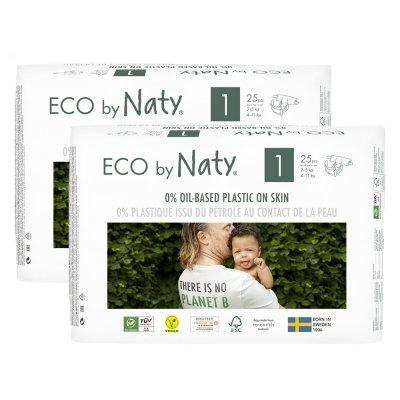 Lot de 2 paquets de couches écologiques jetables taille 1 2-5 kg Naty