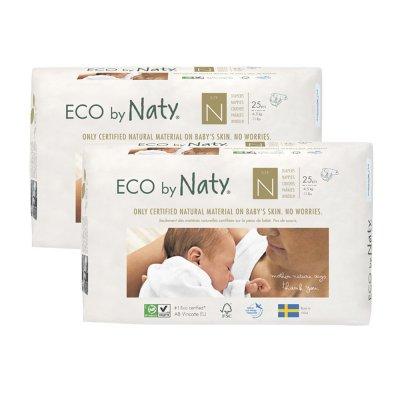 Lot de 2 paquets de couches écologiques jetables new born taille 0 moins de 4.5kg Naty