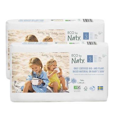 Lot de 2 paquets de 50 couches écologiques jetables taille 3 Naty