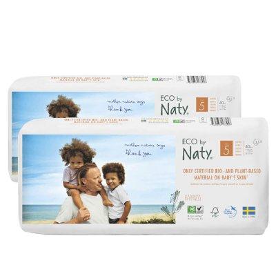 Lot de 2 paquets de 40 couches écologiques jetables taille 5 Naty