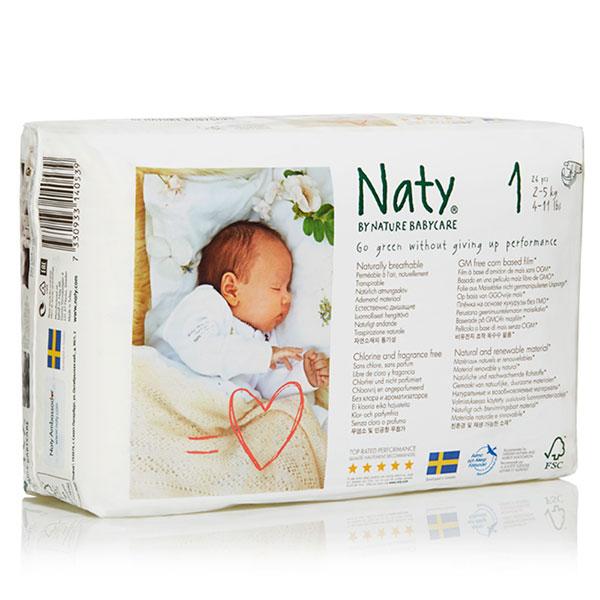 1 paquet de 26 couches écologiques jetables taille 1 2/5kg Naty