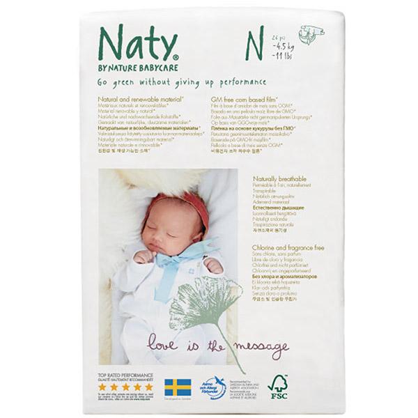 Couche écologiques jetables new born taille 0 (moins de 4.5kg) Naty