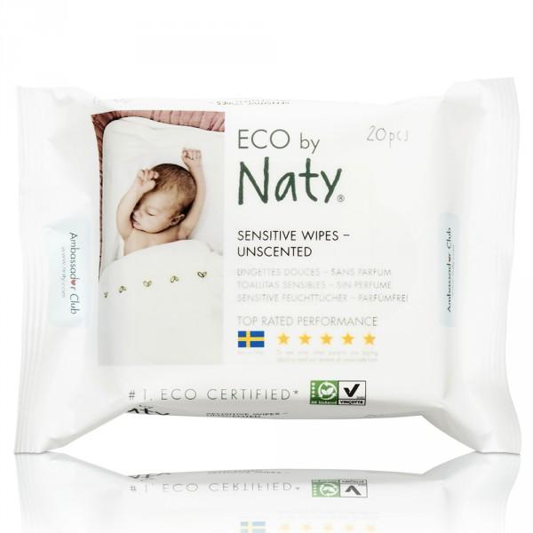 Lingettes bébé douces eco sans parfum format voyage - 20 pièces Naty