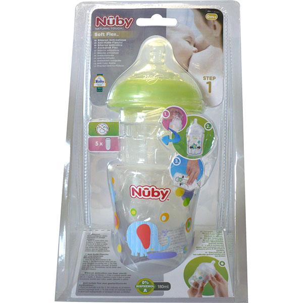 Biberon sans bpa natural touch anti-colique liner 1er âge vert 180 ml Nuby