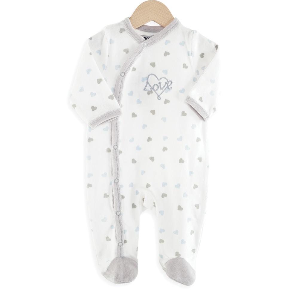 pyjama b b coeurs bleu de trois kilos sept sur allob b. Black Bedroom Furniture Sets. Home Design Ideas