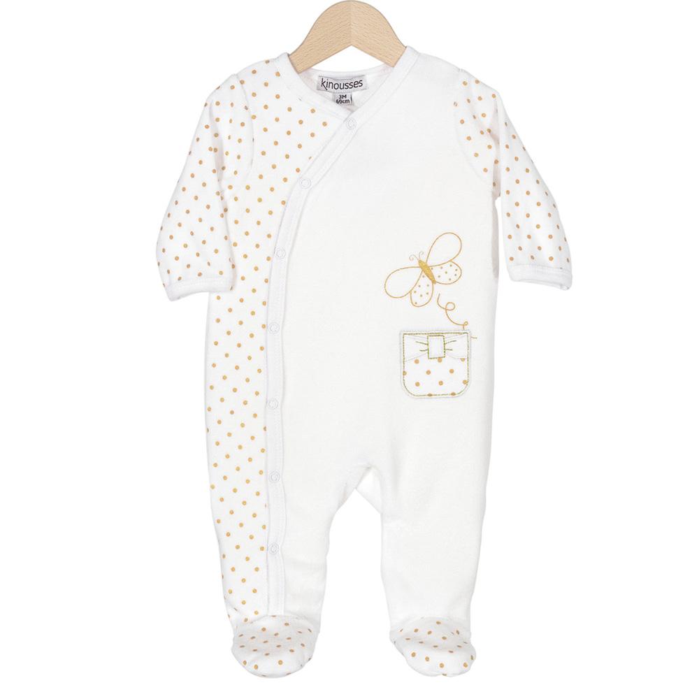 b6350f9990215 Pyjama dors bien y pois dorés de Trois kilos sept sur allobébé