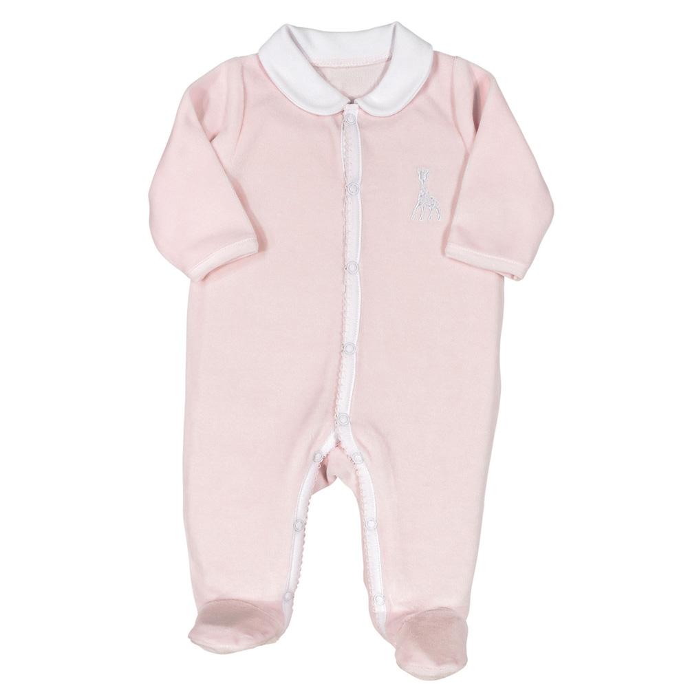 df685607fec0 Pyjama dors bien velours col claudine sophie la girafe rose de Trois kilos  sept sur allobébé