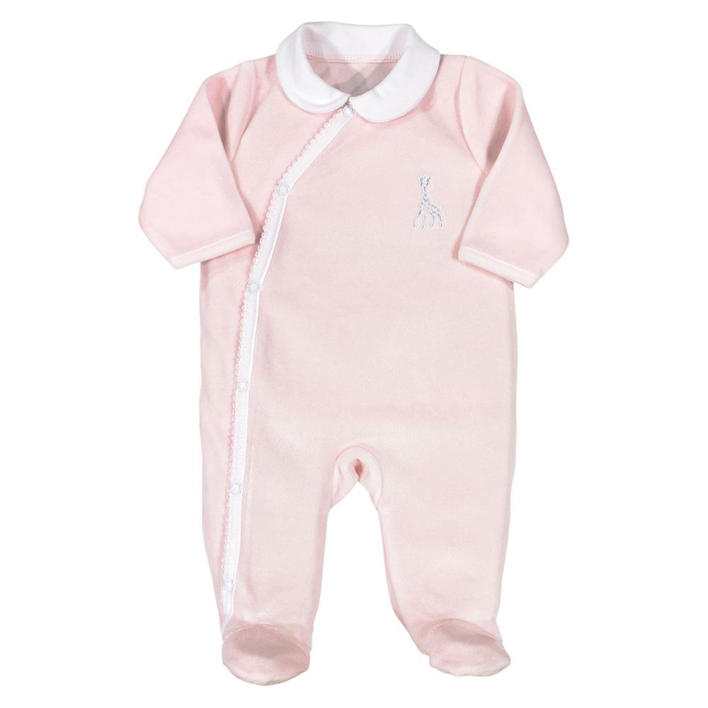 987082471d6c3 Pyjama dors bien croisé velours col claudine sophie la girafe rose de Trois  kilos sept sur allobébé