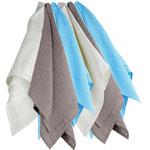 Lot de 6 langes couches hydro 70x70 cm blanc-gris-bleu