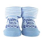 Chaussettes bébé bisous bleu