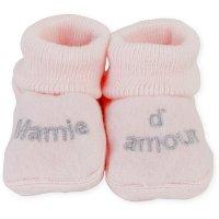 Chaussons bébé mamie d'amour rose