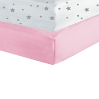 Lot de 2 draps housse 60x120cm étoiles rose