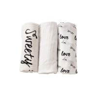 Lot de 3 langes 70 x 70 cm love & sweet