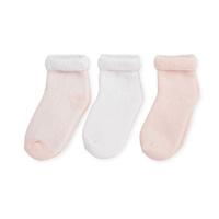 Lot de 3 paires de chaussettes bébé 6/12 mois rayures rose-blanc