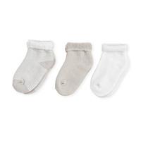 Lot de 3 paires de chaussettes bébé 0/3 mois rayures beige-blanc