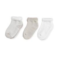 Lot de 3 paires chaussettes bébé 3/6 mois rayures beige-blanc