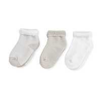 Lot de 3 paires de chaussettes bébé 6/12 mois rayures beige-blanc