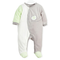 Pyjama bébé dors bien mon p'tit bout d'chou gris-vert