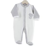 Pyjama bébé dors bien mon p'tit coeur gris blanc