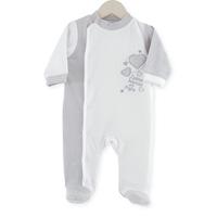 Pyjama bébé j'aime maman et papa blanc gris
