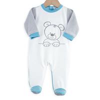 Pyjama bébé ourson blanc bleu
