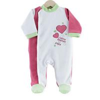 Pyjama bébé j'aime maman et papa blanc fushia
