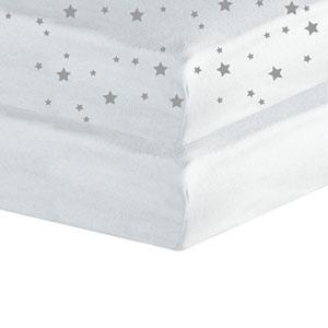 Lot de 2 draps housse 60x120cm étoiles blanc