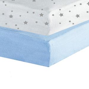 Lot de 2 draps housse 60x120cm étoiles ciel