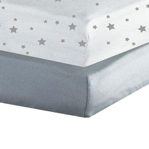 Lot de 2 draps housse 60x120cm étoiles gris