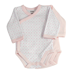 Lot de 2 bodies bébé pois rose