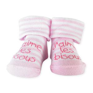 Chaussettes bébé bisous rose