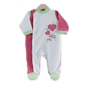 Pyjama bébé dors bien j'aime maman et papa vert fushia