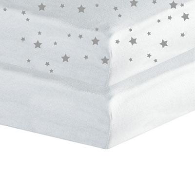 Lot de 2 draps housse 60x120cm étoiles blanc Trois kilos sept