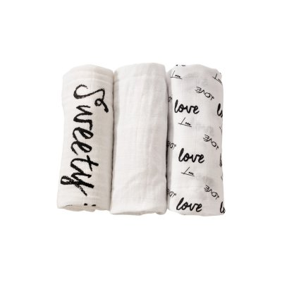 Lot de 3 langes 70 x 70 cm love & sweet Trois kilos sept
