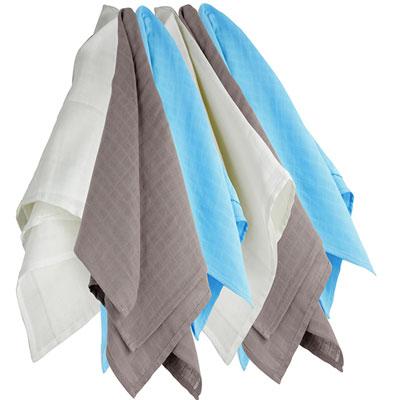 Lot de 6 langes couches hydro 70x70 cm blanc-gris-bleu Trois kilos sept