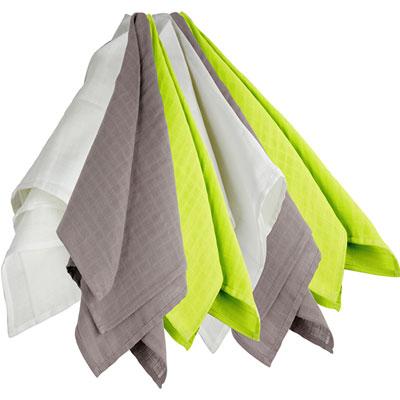 Trois kilos sept Lot de 6 langes couches hydro blanc/gris/vert 70x70cm