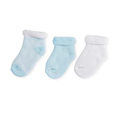 Lot de 3 paires chaussettes bébé 0/3 mois rayures bleu-blanc Trois kilos sept